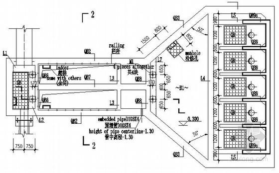 单层框架结构粗格栅及进水泵房结构施工图(知名设计院 中英文对照)