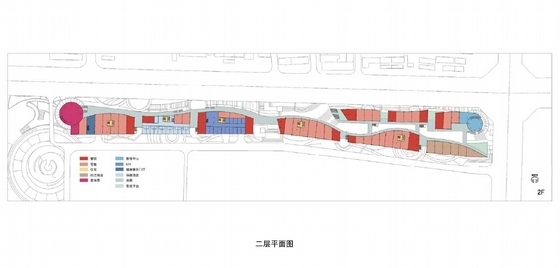 [河北]流线型多层特色商业综合体规划及建筑设计方案文本-流线型多层特色商业综合体各层平面图
