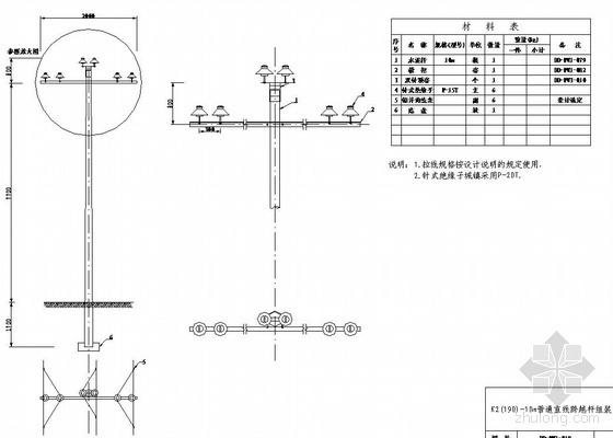 V型滤池毕设图纸资料下载-10KV高压线路杆型全套安装图纸