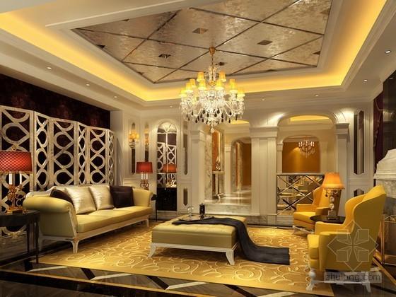 法式客厅3d模型下载