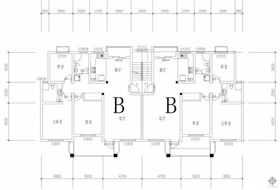 板式多层一梯二户户型图(133/133)