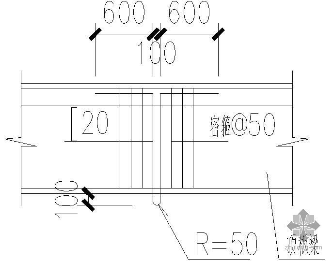 某电梯顶板吊钩大样(有梁)节点构造详图
