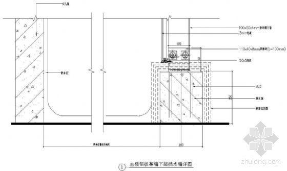 幕墙下部挡水墙详图(四)