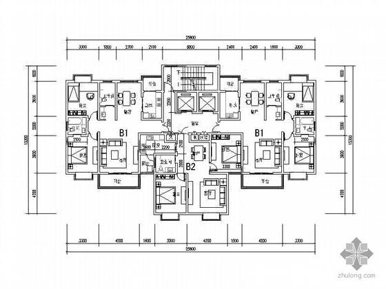 塔式高层一梯三北梯户型图(105/85)