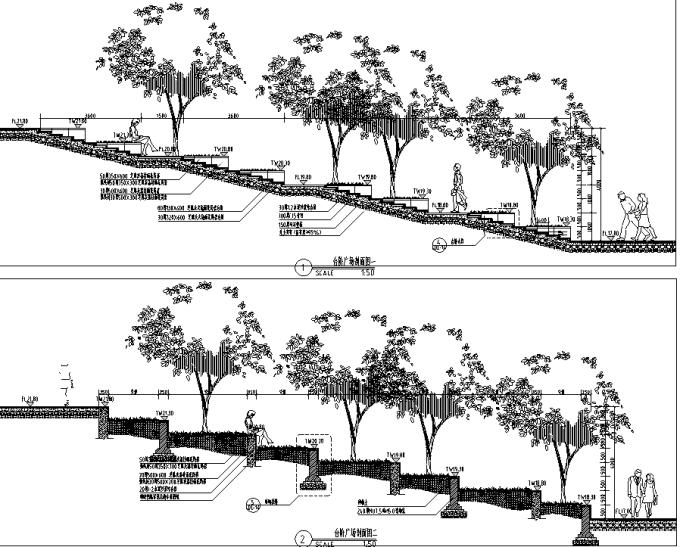 [浙江]流动地景自然生态大学校园景观规划设计全套图纸(方案+CAD施工图+PDF施工图+实景图)-台阶广场设计详图