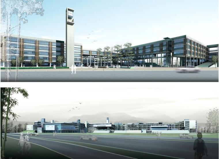 [浙江]杭州某市场中学建筑设计方案文本(效果图+SU+CAD)-效果图