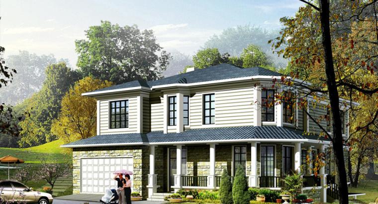 农村二层别墅盖房设计案例效果图-别墅16