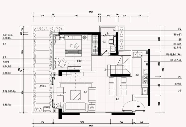 [浙江]现代风格样板房室内施工图设计(效果图+cad)