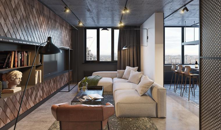 基辅工业风公寓:将厚重与轻盈完美平衡_2