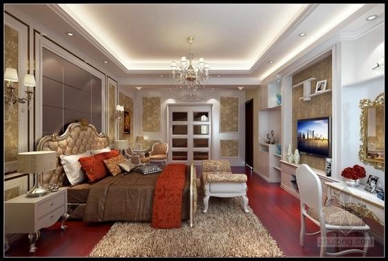 花园式住宅区欧式风格三层别墅装修图(含效果图) 卧室效果图