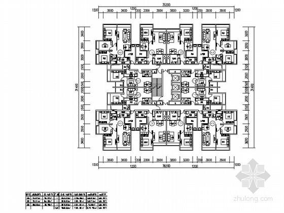 高层住宅一梯十二户标准层平面图(56、77、94平方米)