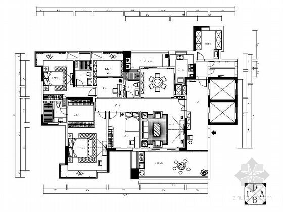 [东菀]书香之家现代中式四居室装修图(含效果)
