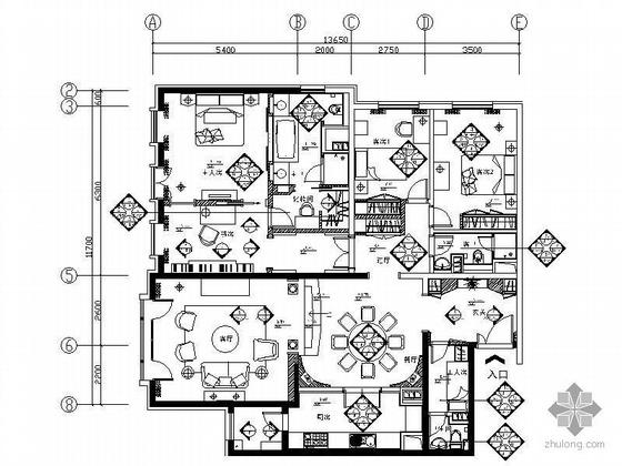 [北京]高级公寓A1户型四居室精装装修图纸