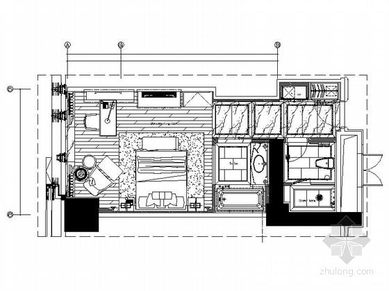 [厦门]现代简约酒店客房设计CAD施工图
