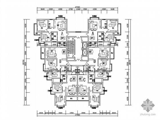 塔式高层一梯六户型图(89/94/93)