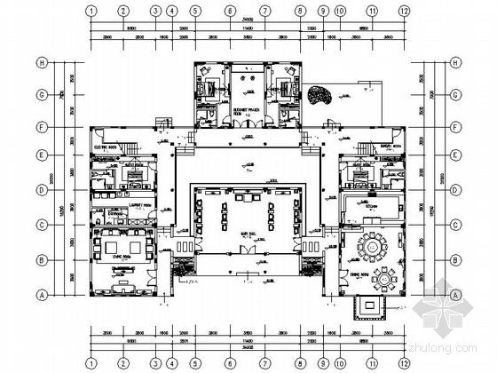 [广州]温泉度假村典雅中式风格两层别墅样板间装修施工图(含效果)