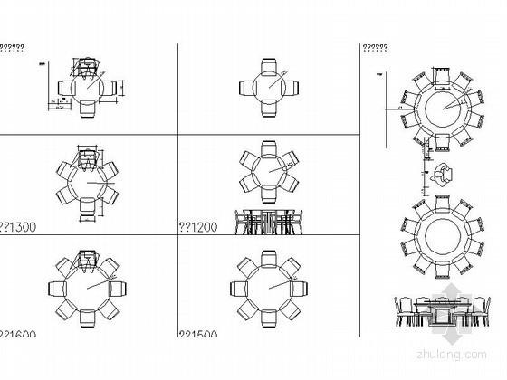 餐桌椅组合平面CAD图块下载