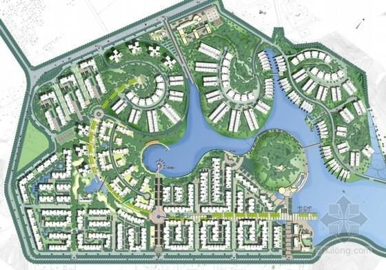 [广州]滨水住宅区景观规划设计总平面图