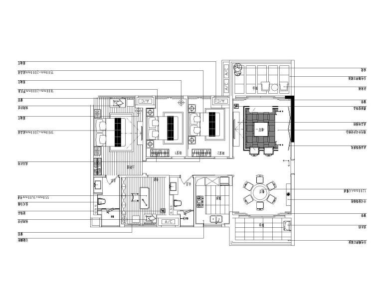 [成都]中式惠州城市广场样板房施工图设计(附效果图)