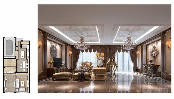 [山西]豪华欧式风格三层别墅室内装修设计方案客厅