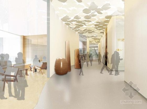 [上海]环超高层地标式摩天商务现代办公大楼设计方案走廊效果图