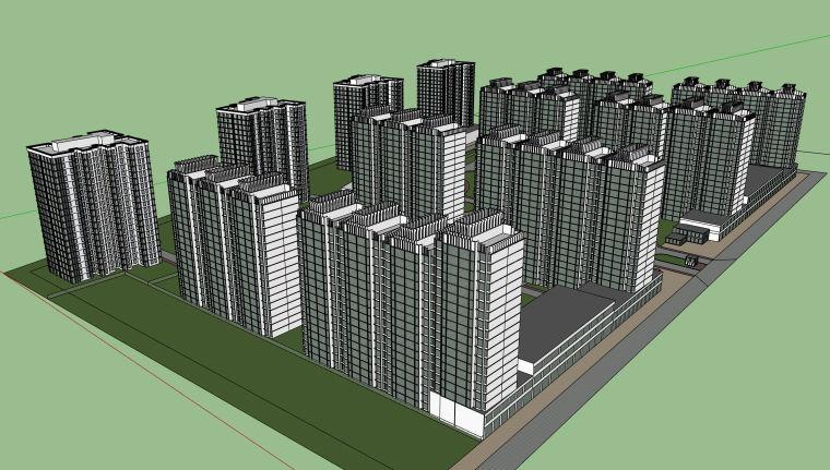 简约现代居住区建筑设计su模型
