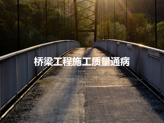 桥梁工程桩基/下部结构/上部结构及预应力等10类施工质量通病及防治措施分析
