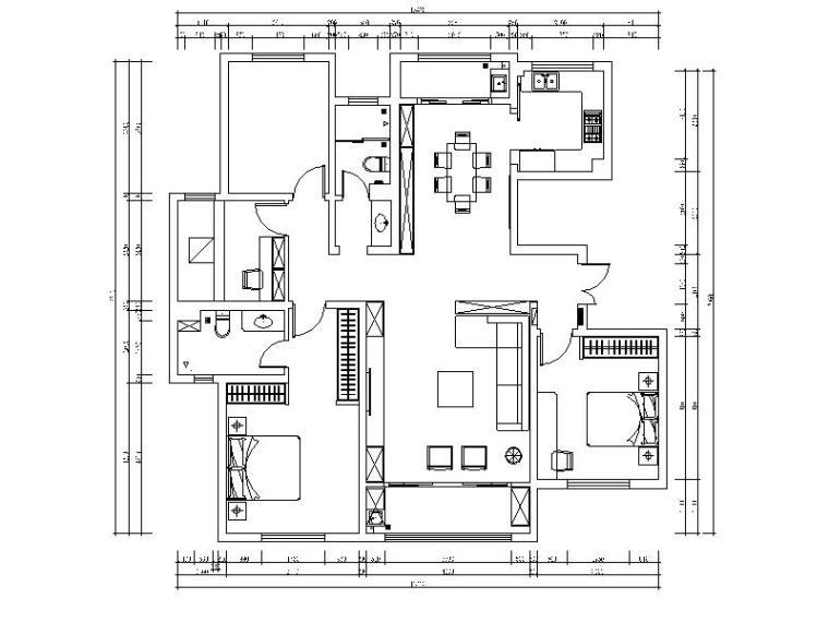 [山东]现代简约三居室设计施工图(含效果图)