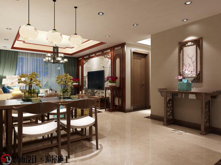 《现代中式》扬州106平中式风格3居室装修设计图-客厅效果 电视背景墙铺贴山水第1张图片