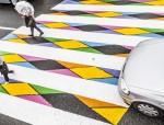 马德里街头的彩色人行横道