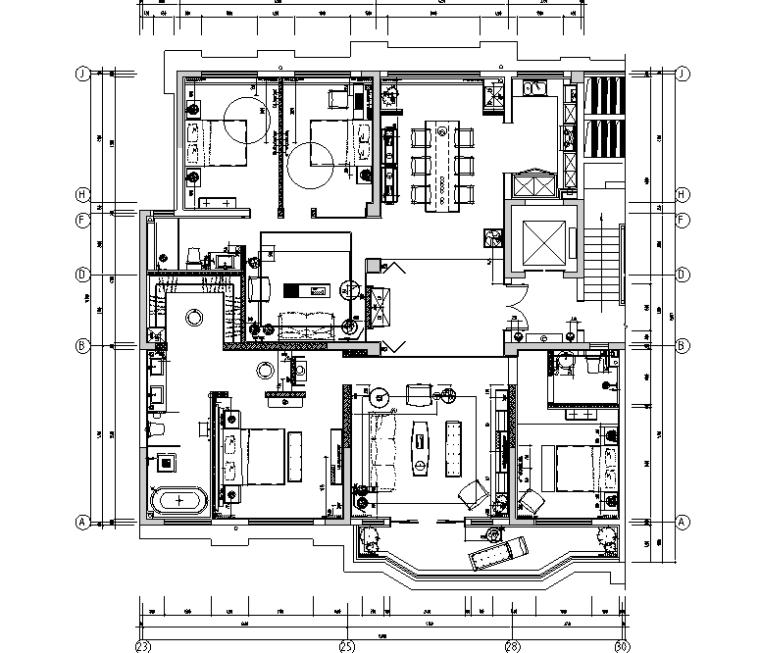 [郑州]正弘瓴当代中式样板间设计施工图及效果图
