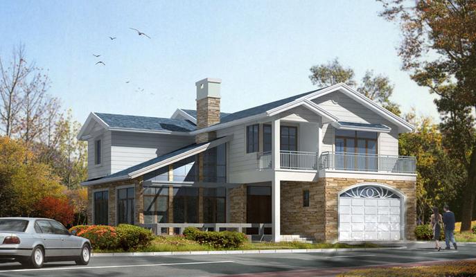 现代风格二层别墅建筑方案设计文本(包含CAD)