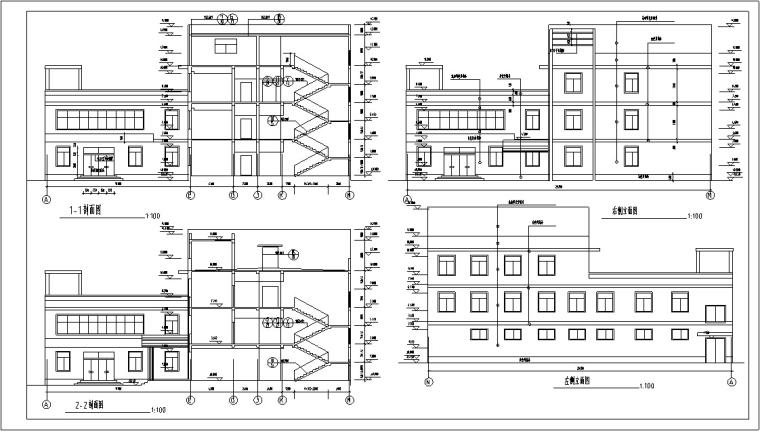 5套现代多层宾馆酒店建筑设计施工图CAD-多层宾馆建筑设计剖面图2