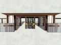 海珀朝阳居住区入口大门围墙模型设计(新中式风格)