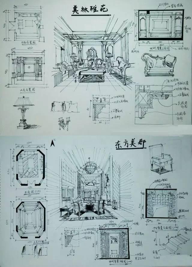室内手绘 室内设计手绘马克笔上色快题分析图解_29