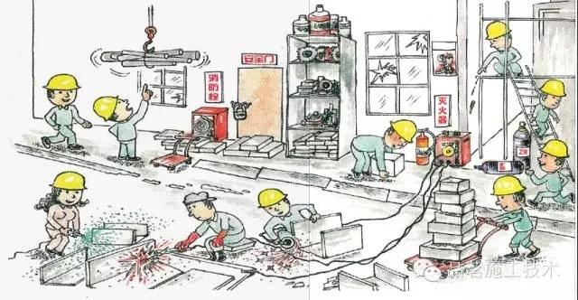 一副施工漫画,看出47个安全问题才算牛!