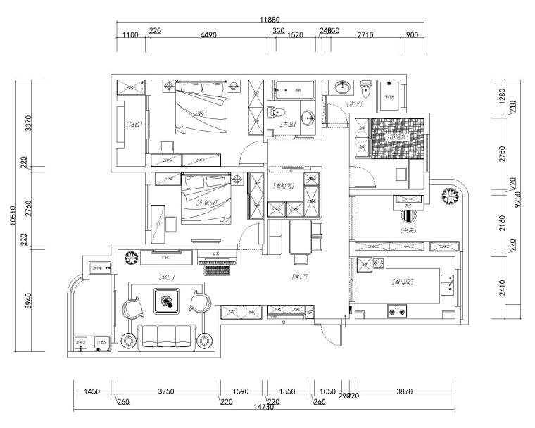 欧式田园风四室两厅施工图设计(附效果图)