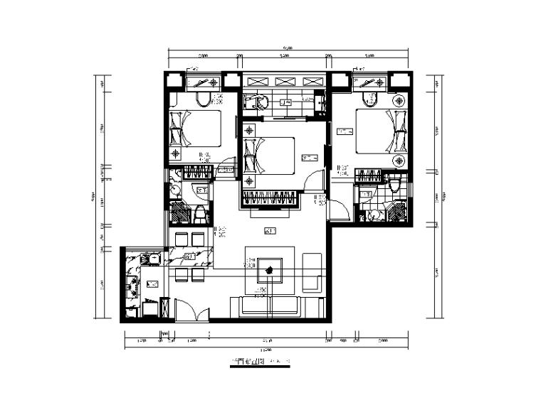七套现代风格样板房设计CAD施工图(含效果图)