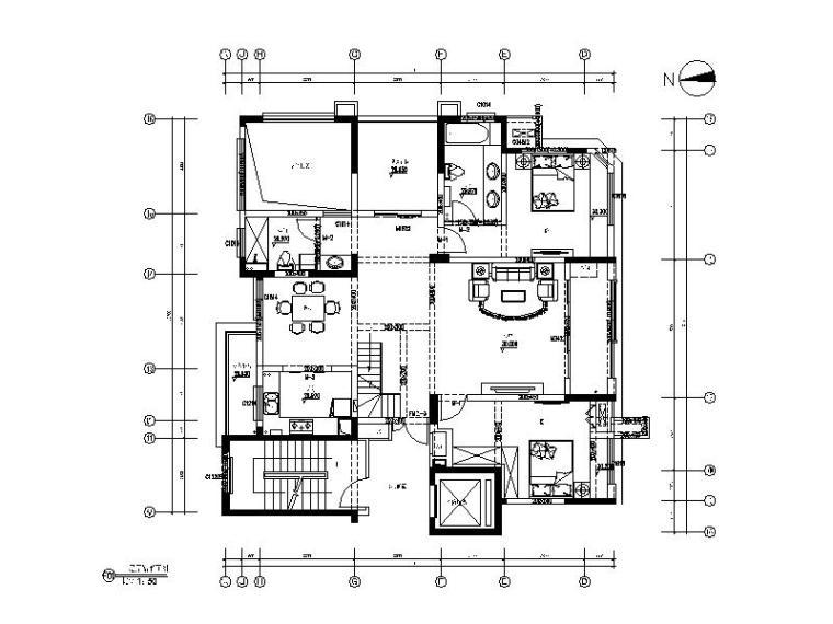 [安徽]美式风格户型样板房CAD施工图(含实景图)