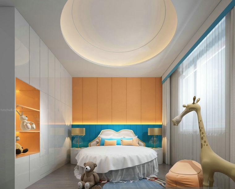 现代简约风环形吊顶儿童房3D模型