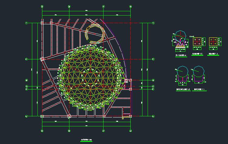 单层凯威特网壳球形采光顶结构设计施工图