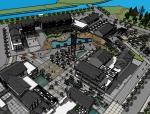 新中式风格码头及广场SU模型