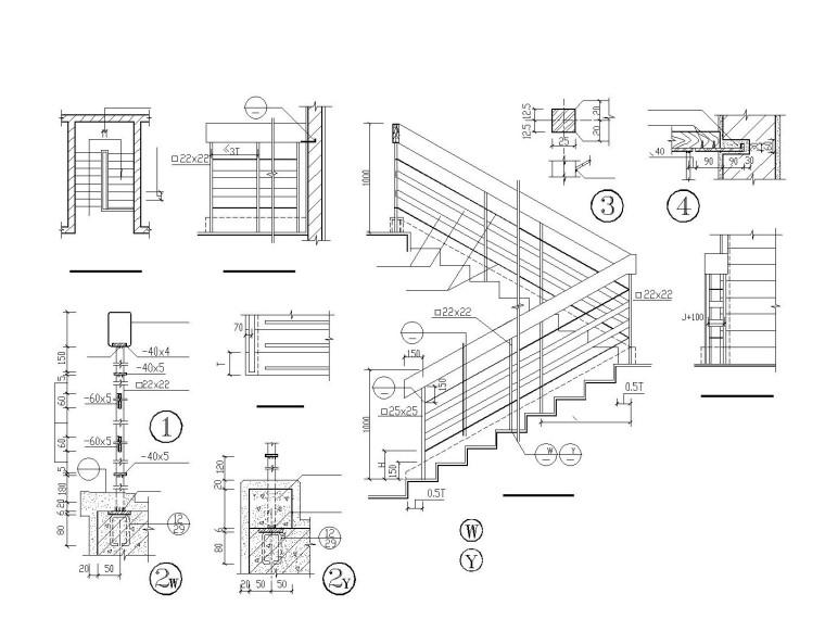 木楼梯、铁艺楼梯、旋转楼梯、现代式楼梯等大样节点图集