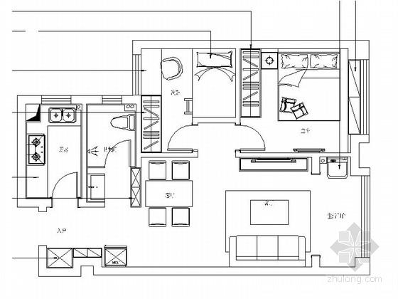 [合肥]简单小巧两居室室内家装施工图