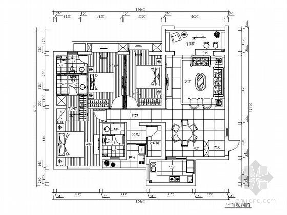 [福建]139平欧式风格三居室室内装修施工图(含效果图)