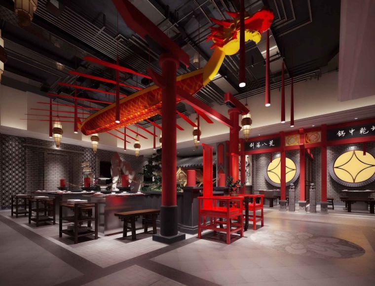 中式风格火锅店设计3D模型(附效果图)