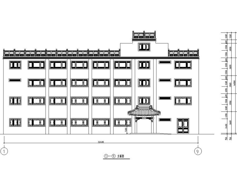 重庆中式古典多层宏声大酒店建筑设计施工图CAD
