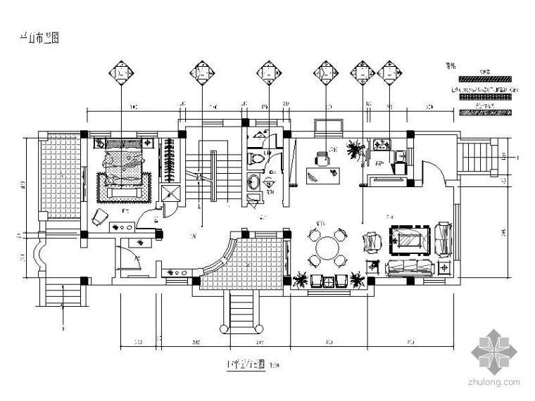 [大连]某三层别墅美式装修施工图