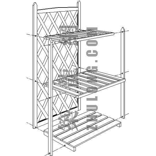 三层木制花架施工详图
