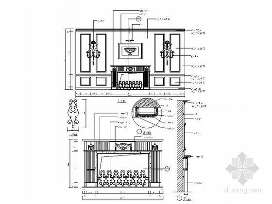 中欧式背景墙CAD节点详图